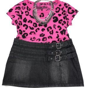 Express Distressed Black Wash Buckled Mini Skirt